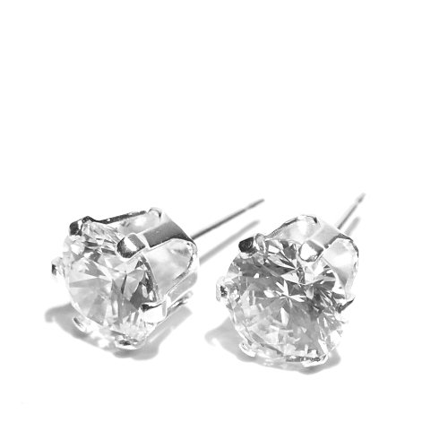 925 Sterling Silver Stud Earrings set with AAAAA Round Brilliant Cut Cubic Zirconia Stones. Gift Box. Made in England. Beautiful jewellery for very special people.