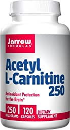 Jarrow Formulas Acetyl L-Carnitine 250 mg, Antioxidant Protectionfor the Brain, 120 Caps