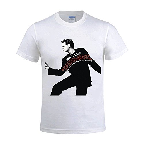 Michael Buble Spider Man Theme Sway Mens Funny t shirts Crew Neck White