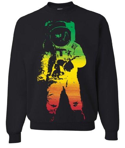 Space Astronaut Man On The Moon Rasta Crewneck Sweatshirt By Dsc - Black Large front-433952