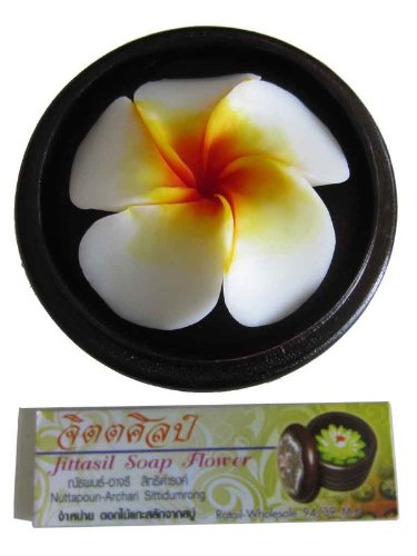 "Jittasil Thai Hand-Carved Soap Flower, 4"" Scented Soap Carving, Plumeria In Decorative Pine Wood Case"
