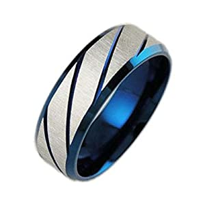 Fashion Ahead Stainless Steel Comfort Fit Mens Striped Wedding Bands
