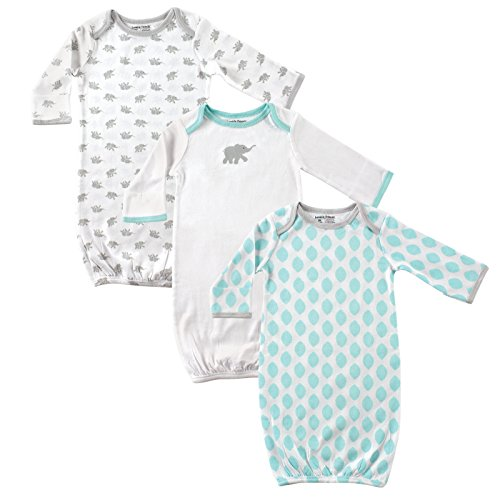 luvable-friends-baby-3-pack-gowns-mint-grey-elephant-0-6-months