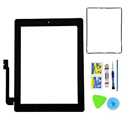 Monkey New Black Digitizer Touch Screen Front Glass Assembly For iPad 3 - Includes Home Button + Pre-Installed Adhesive with tools kit for iPad 3 3rd Gen Touch