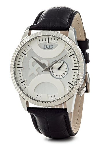 D&G Men's Watch DW0695 with Silver Multi Function Dial, Date, Stainless Steel Case and Black Leather Strap