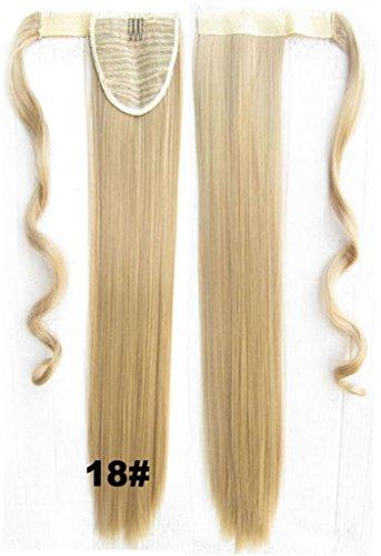 Queen Wig 22inch 55cm 90g long droit synthetique beaucoup de couleurs partie drame clip in extension de cheveux queue de cheval Wrap Around Cravate - #18 blond