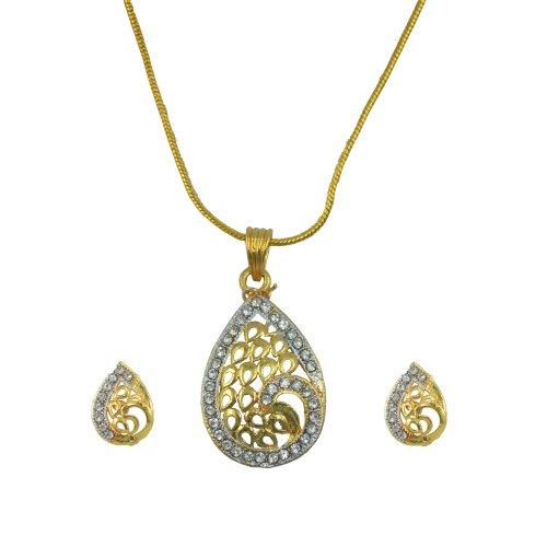 "AAKSHI AD \""Indo Fusion Mayuri Leaf Engraving\"" Dual Tone Jewellery set (multicolor)"