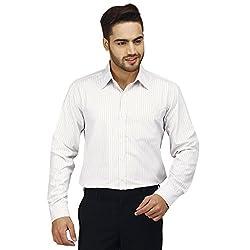 Modimania Men's Striped Formal White, Yellow Shirt