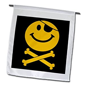 3dRose fl_76648_1 Pirate Smiley Face-Yellow Jolly Roger Flag Skull and Crossbones Smile with Eye Patch Garden Flag, 12 by 18-Inch