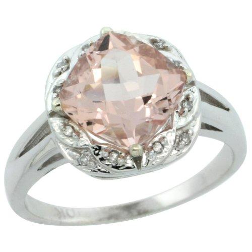 10k White Gold Diamond Halo Morganite Ring 2.7 ct Checkerboard Cut Cushion Shape 8 mm, 1/2 inch wide, sizes 5 10