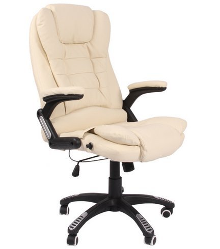 Kidzmotion leather high back reclining office / desk chair with massage and heat (Natural)