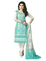 PShopee Light Green Cotton Embroidery Unstitched Multistylist Dress Material