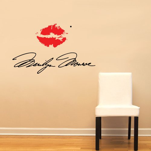 Marilyn Monroe Signature With Red Lips Large