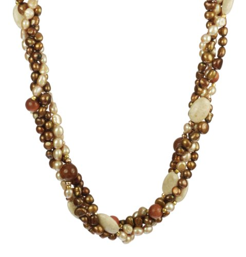 Brown and Pink Fresh Water Pearl, Goldstone Beads, Riven Stone Ovals with Gold Tone Clasp Necklace, 18