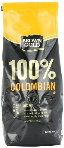 Brown Gold 100% Colombian Coffee, 12-Ounce Bag