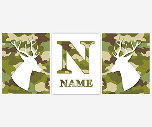 Com CANVAS Baby Boy Nursery Wall Art Deer Antler Head Camouflage Camo