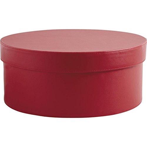 Boite ronde en simili cuir rouge