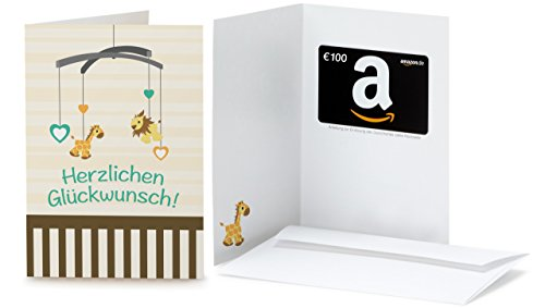 Amazon.de Grußkarte mit Geschenkgutschein - 100 EUR (Glückwunsch zur Geburt)