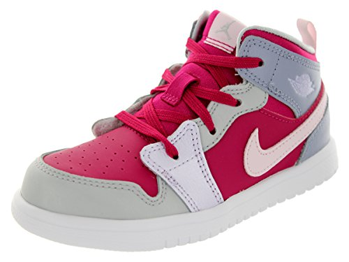 Nike Jordan Toddlers Jordan 1 Mid Flex (Td) Hypr Fchs/Pbbl Gry/Mtlc Pltnm Basketball Shoe 10 Infants Us back-1070855