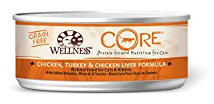 Wellness CORE Natural Grain Free Wet Canned Cat Food, Chicken, Turkey and Chicken Liver Recipe, 5.5-Ounce Can (Pack of 24)