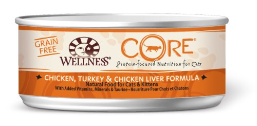 Wellness Grain-Free Canned Cat Food, CORE Chicken/Turkey/Chicken Liver Recipe, 24-Pack of 5-1/2-Ounce Cans
