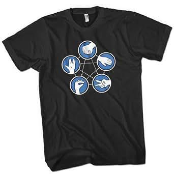Rock Paper Scissors Lizard Spock Mens Premium T-Shirt Black Small