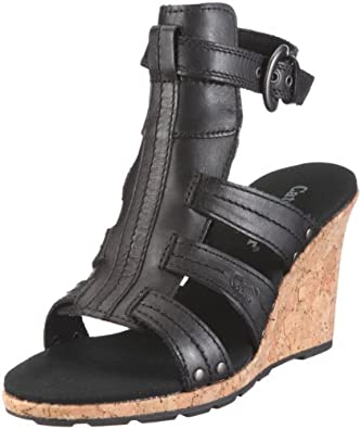 CAT Footwear Women's Athena Black Wedge Sandal P304935 5 UK