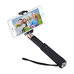 Bluetooth Selfie Stick, Yearscase Built-in Remote Shutter Self-Portrait Extendable Wireless Aluminium Alloy with Zoom and Camera Switching Button Selfie Stick (Black)