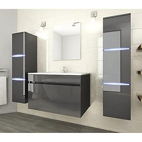 NEPTUNE Salle de bain complete simple vasque 80 cm avec éclairage LED - Gris brillant