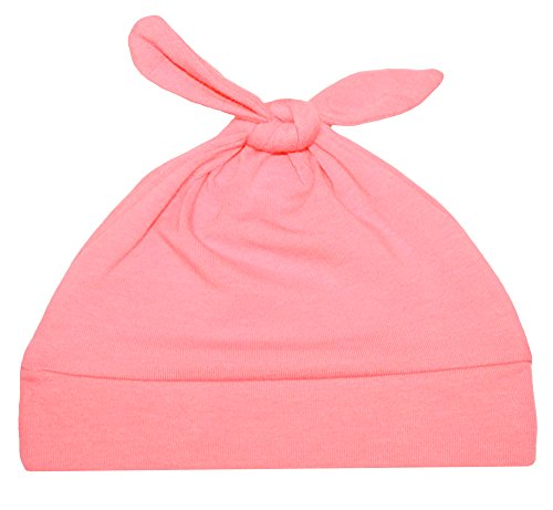 Woombie Cotton Double Knot Beanie Hats, Salmon Pink, 0-6m - 1