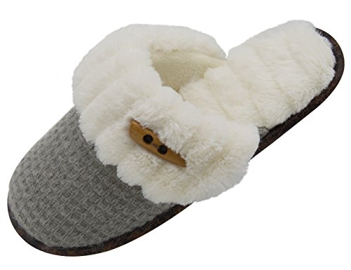 Vonmay Women's Elegant Knitted Cozy Plush Fleece Lined Slip On Indoor House Slippers (7-8 B(M) US, Gray) (Woman House Slippers compare prices)