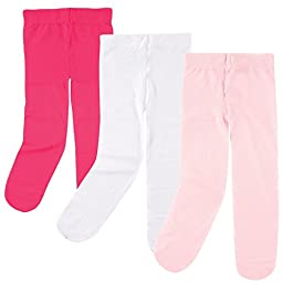 Luvable Friends Baby 3 Pack Tights For Baby, Dark Pink/Light Pink/White, 2T-4T