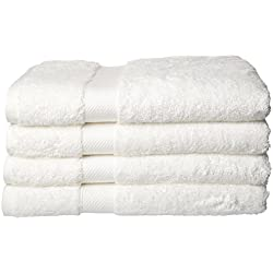 Luxury Hotel & Spa Towel 100% Genuine Turkish Cotton & Bamboo Rayon (White, Bath Towel - Set of 4)
