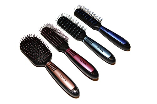 Viva Pastel and Black Professional Hair Brush Set (4 Pack) (Hair Dryer With Rolling Brush compare prices)