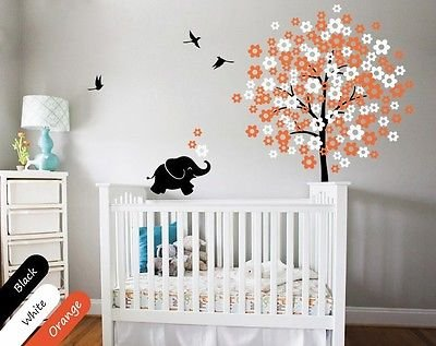 Birds Tree With Elephant And Blossoms Nursery Decor For Your Baby'S Room Kr009