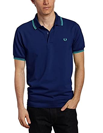 Fred Perry Men's Twin Tipped Polo Shirt, Medieval Blue/Bay Leaf, Large