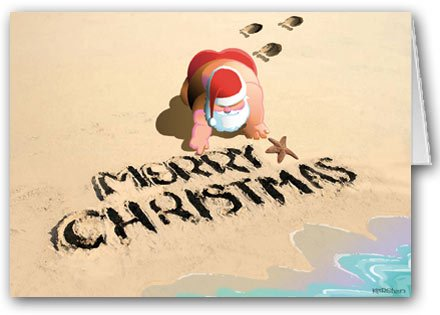 Merry Christmas Beach & Sand - Christmas Card