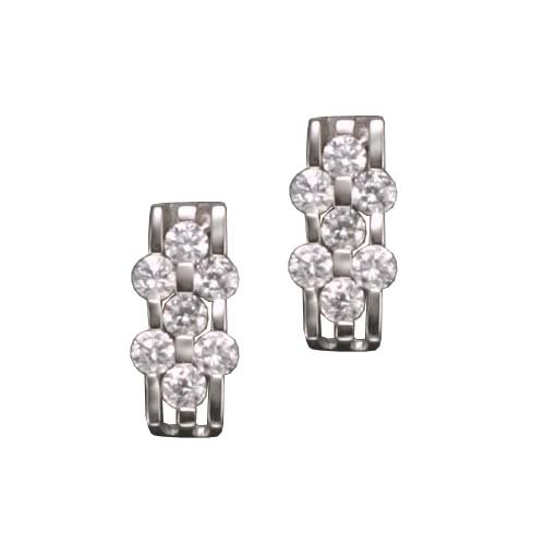Daylen's 925 Sterling Silver Stud Earrings Brick Rhodium Plated w/ Round Cubic Zirconia Accent - Incl. ClassicDiamondHouse Free Gift Box & Cleaning Cloth