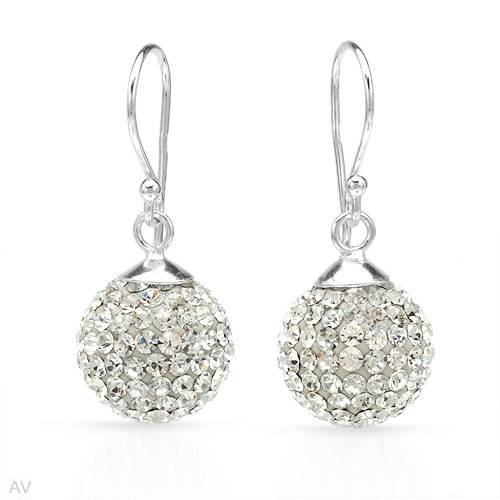 Earrings With Genuine Crystals Beautifully Crafted in White Enamel and 925 Sterling silver Length 29mm