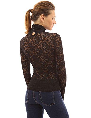 PattyBoutik Women's Turtleneck Sheer Lace Blouse