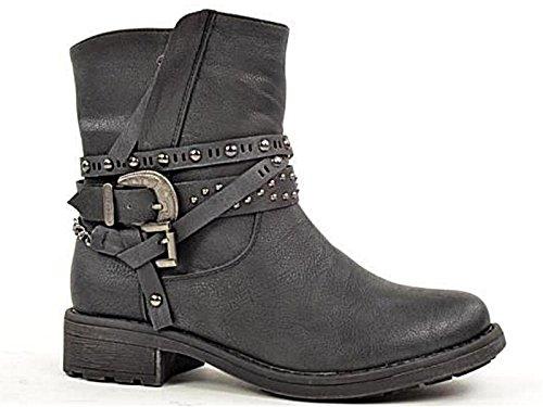 Fabulous Fabs - Stivali da Motociclista da ragazza' donna , Nero (Black), 35.5