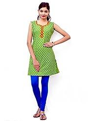 Charu Boutique Pure Cotton Printed Green Kurti