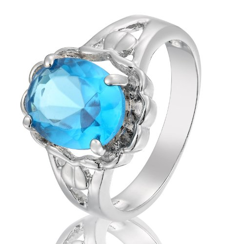 Rizilia Engagement! Oval Cut Fashion Jewelry Aquamarine Lady 18K Gold Plated Ring 8