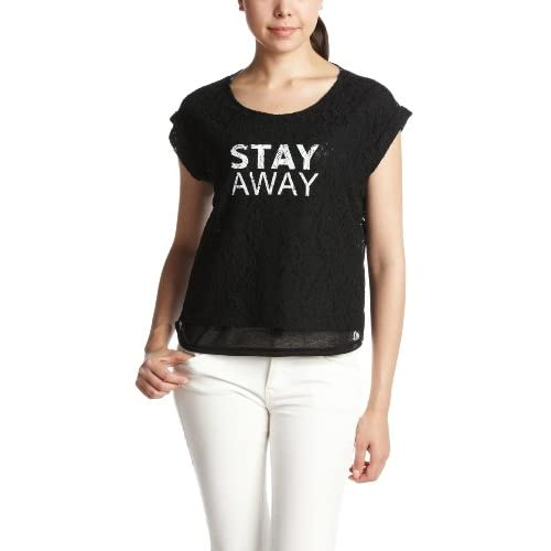(コンフィー)comfy 生地レース×プリント ロゴプリント入りボックスTシャツ 1312222  ブラック F