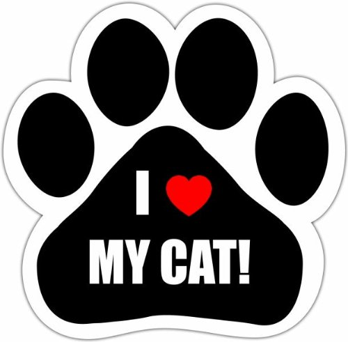 """I Love My Cat"" Car Magnet With Unique Paw Shaped Design Measures 5.2 By 5.2 Inches Covered In High Quality Uv Gloss For Weather Protection"