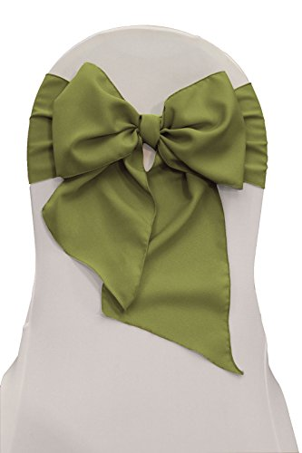 LA Linen Polyester Poplin Chair Bow Sashes, 7 by 108-Inch, Dark Sage, 10-Pack