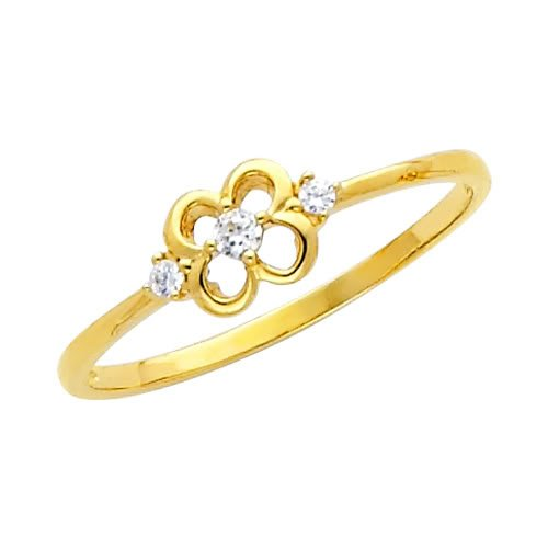 14K Yellow Gold High Poliosh Finish Round-cut Top Quality Shines CZ Cubic Zirconia Ladies Promise Ring Band - Size 7