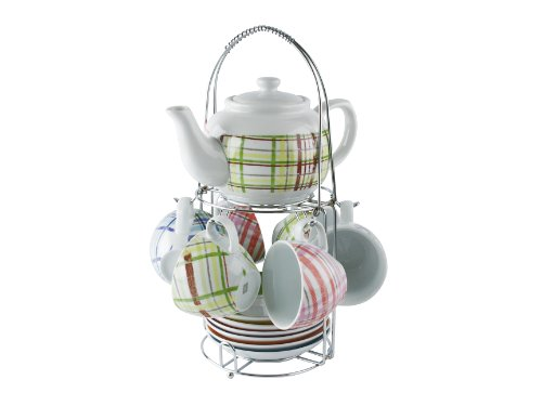 Great Features Of Present Time Multi Colored Tartan Porcelain Tea Set with Stand