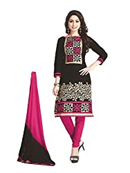 PShopee Black & Maroon Cotton Embroidery Unstitched Multistylist Dress Material