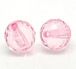 Housweety 100 Rosa Facettiert Rund Acryl Perlen Beads 12mm